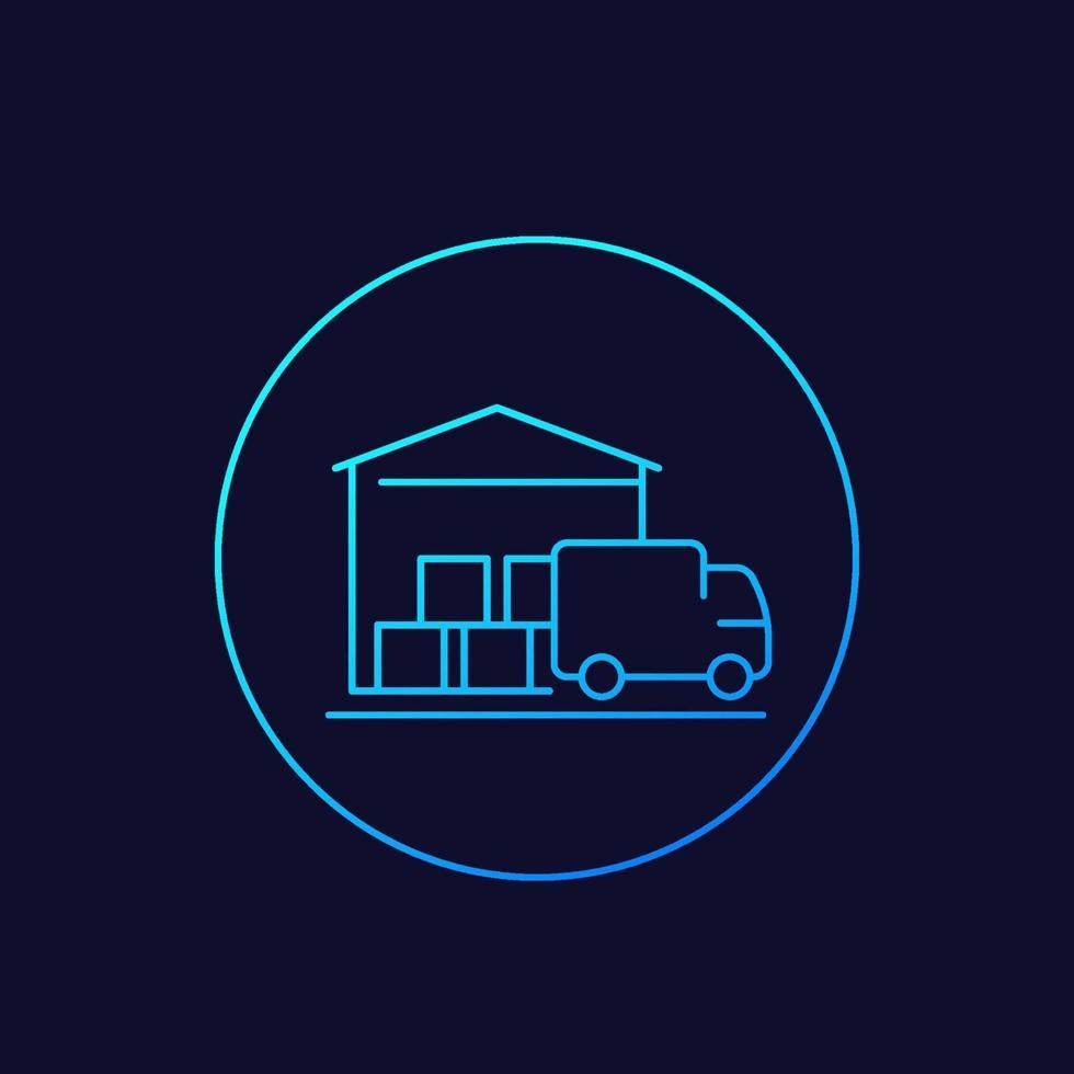 lager och skåpbil, leveransikon, raddesign. eps vektor