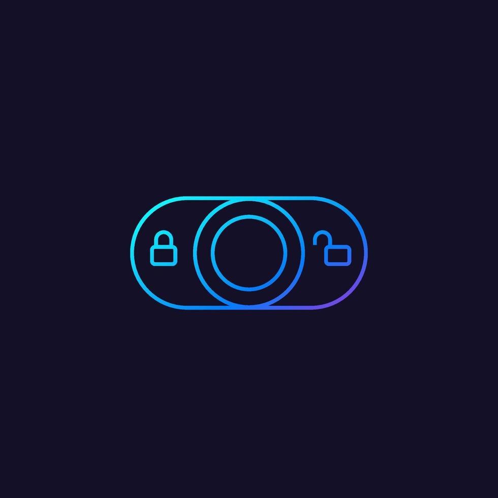 låsbrytare vektor linjär ikon för web.eps