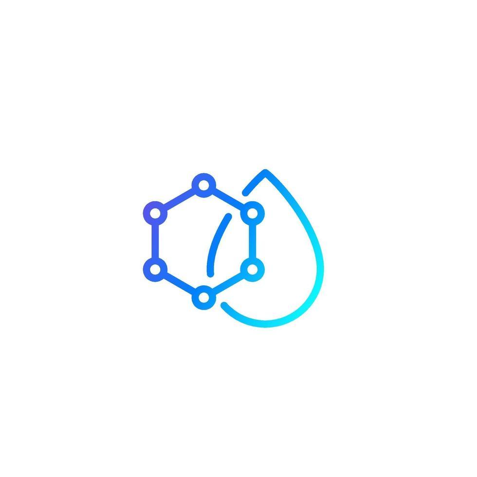släpp med nanopartiklar ikon, line.eps vektor