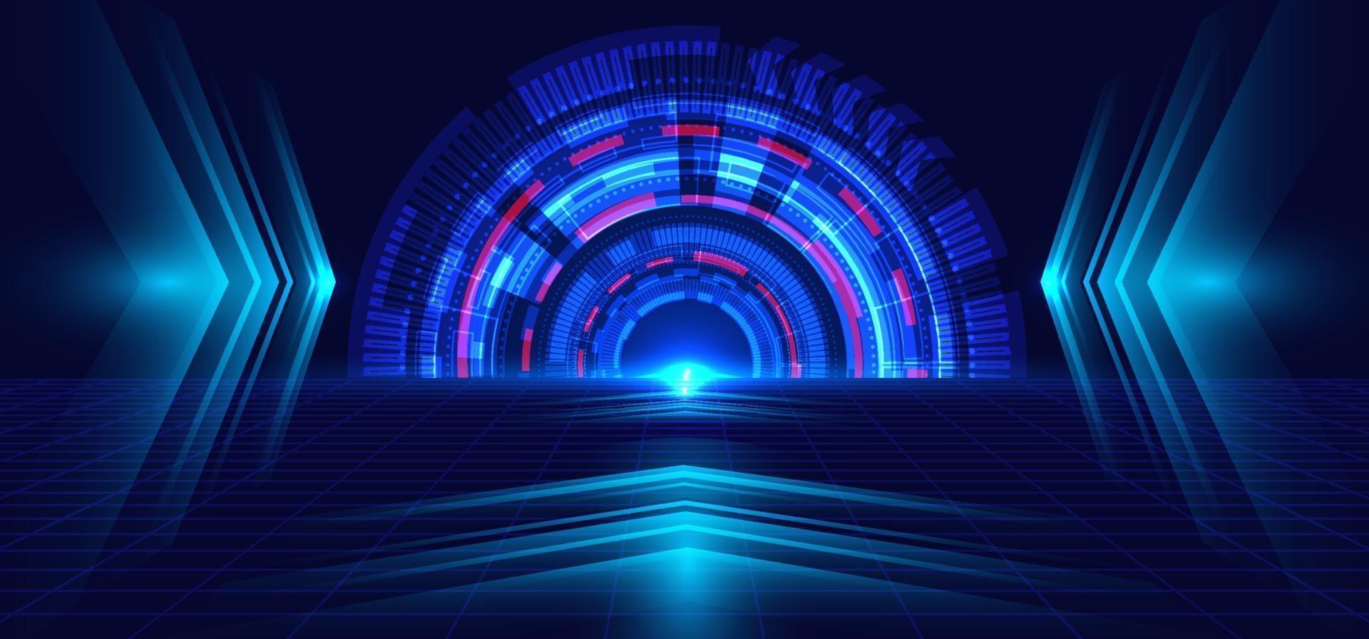 abstrakt teknik blå cirkel, ljusstråle och pilmönster. perspektiv på mörkblå rutnät bakgrund hi-tech kommunikation koncept. vektor
