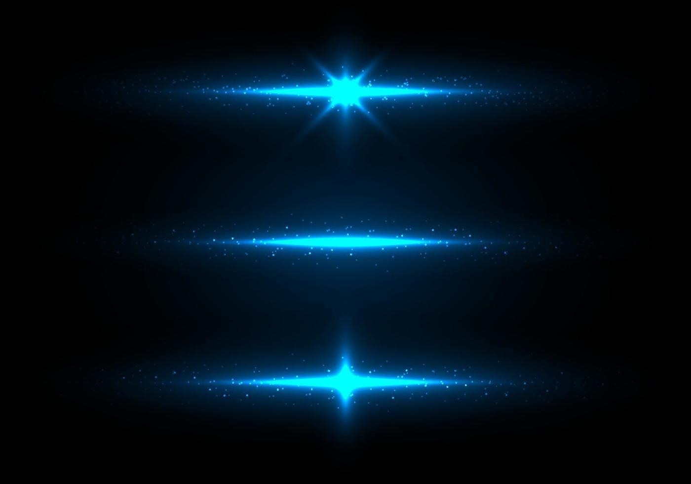 uppsättning blå lampor som gnistrar med partiklar. glitter damm på mörk bakgrund. vektor