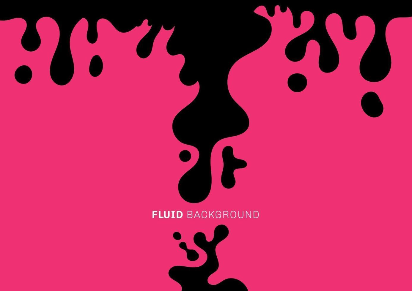 abstrakte schwarze Flüssigkeit oder flüssige dynamische Wellen fallen auf rosa Hintergrund. minimaler Stil. vektor