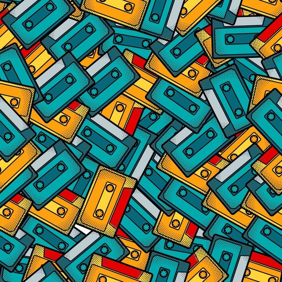 kassett popkonst sömlösa mönster vektor