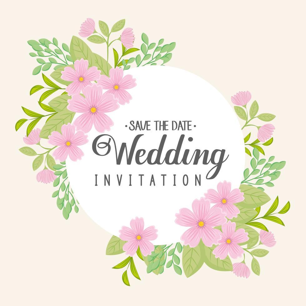 gratulationskort med blommig krans för bröllopsinbjudan vektor