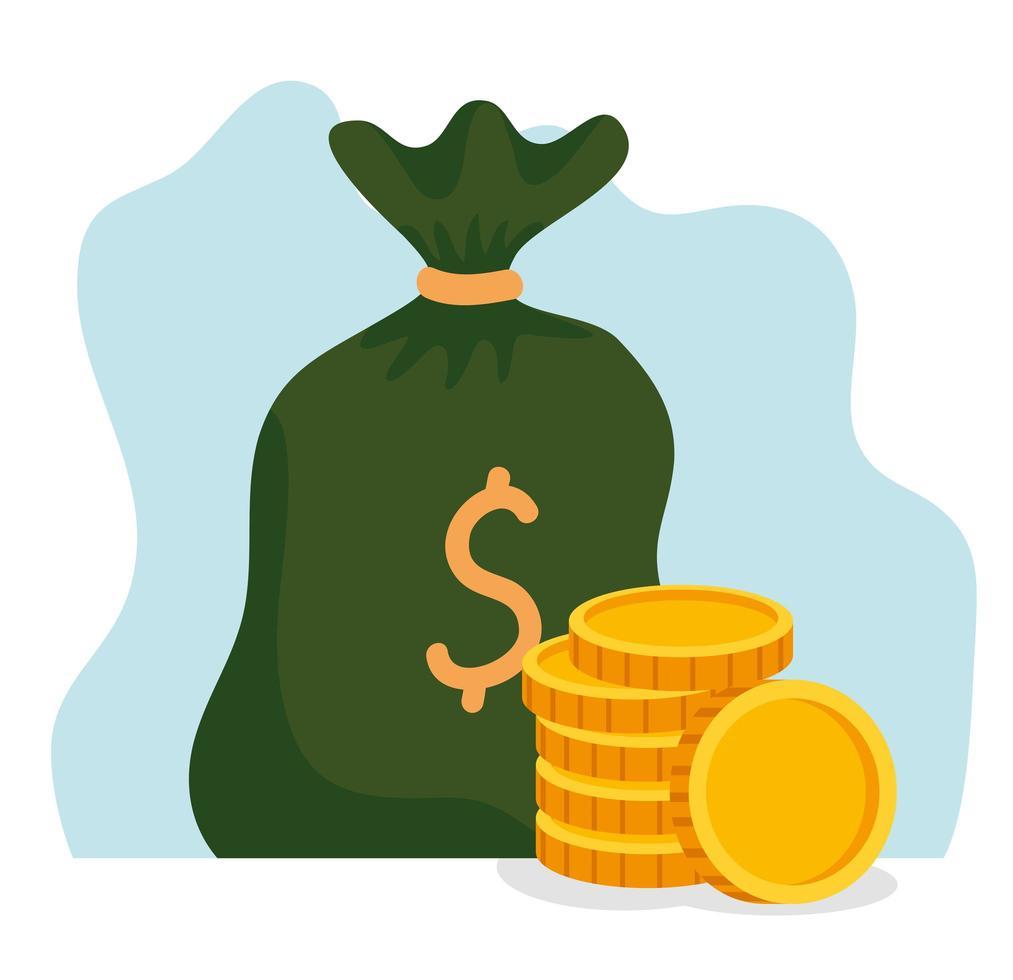 pengar väska med en hög med mynt vektor