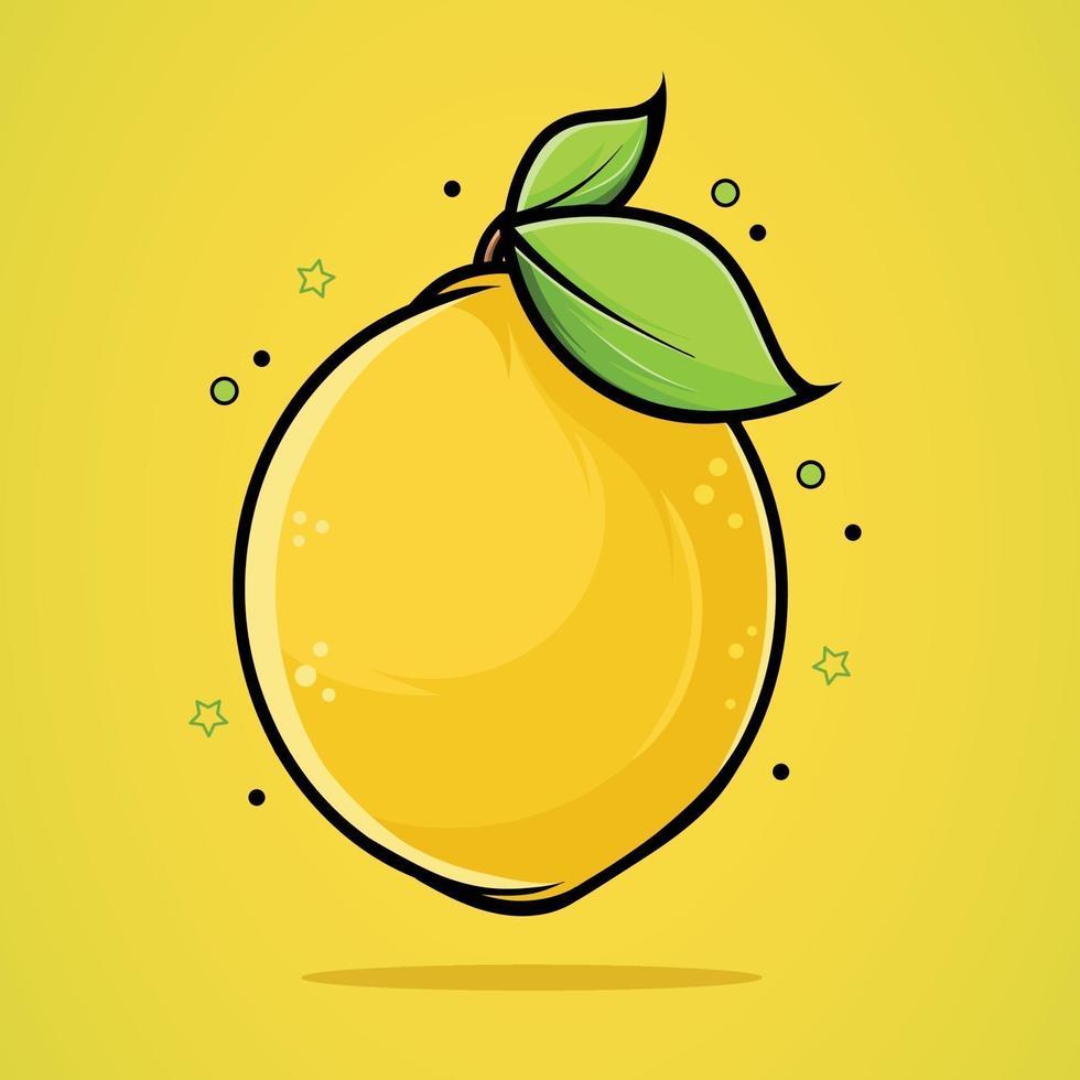vacker illustration av en färsk citron i hög kvalitet och skuggor vektor