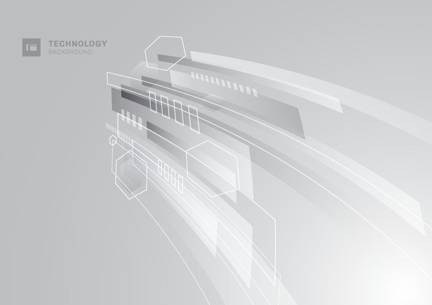 abstraktes Technologiekonzept. grauer und weißer geometrischer Corporate Designperspektivenhintergrund. vektor