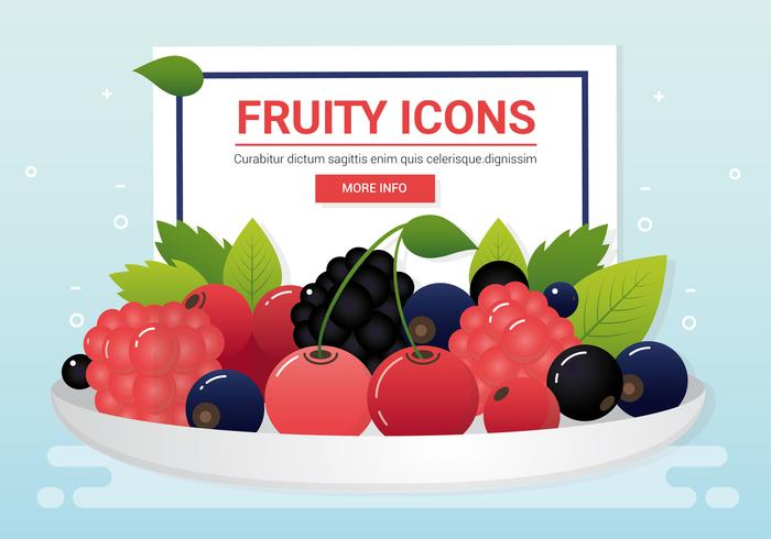Vektor färsk frukt ikoner