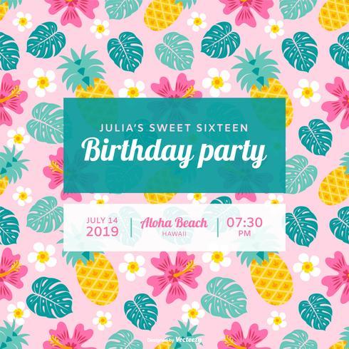 Polynesian födelsedagsfest vektorinbjudan vektor