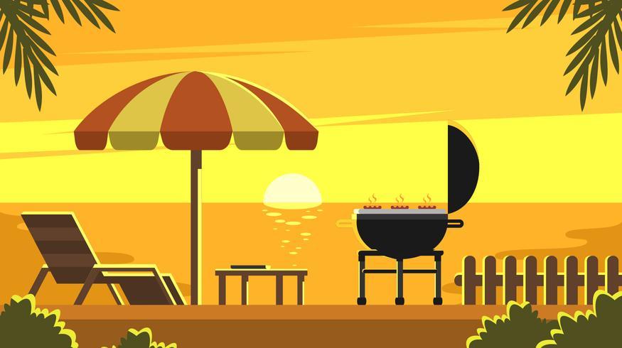 Sunset Backyard Grill Vector