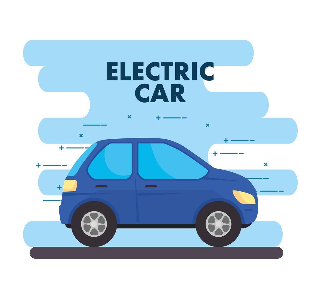 elektrisk blå bil, miljövänligt koncept vektor