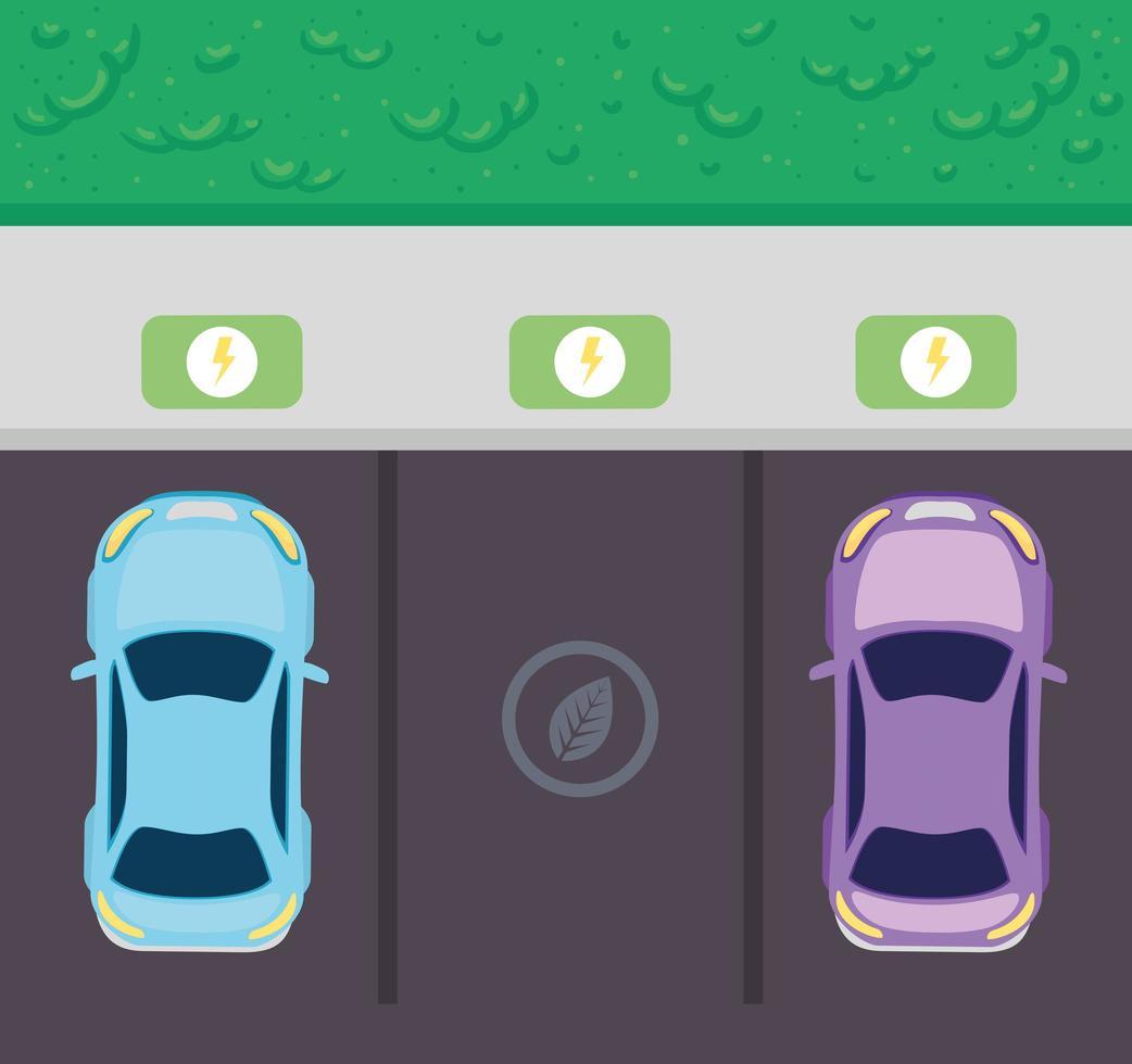 ovanifrån av elbilar på parkeringen, miljövänligt koncept vektor