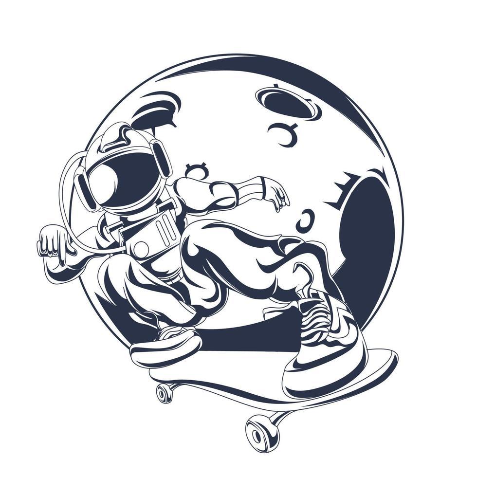 astronaut freestyle bläck illustration konstverk vektor