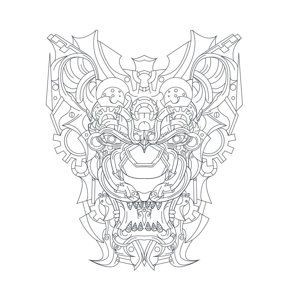 vektor handritad illustration av lejon prydnads