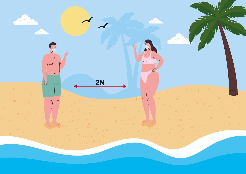 människor socialt distanserar på stranden med ansiktsmasker vektor
