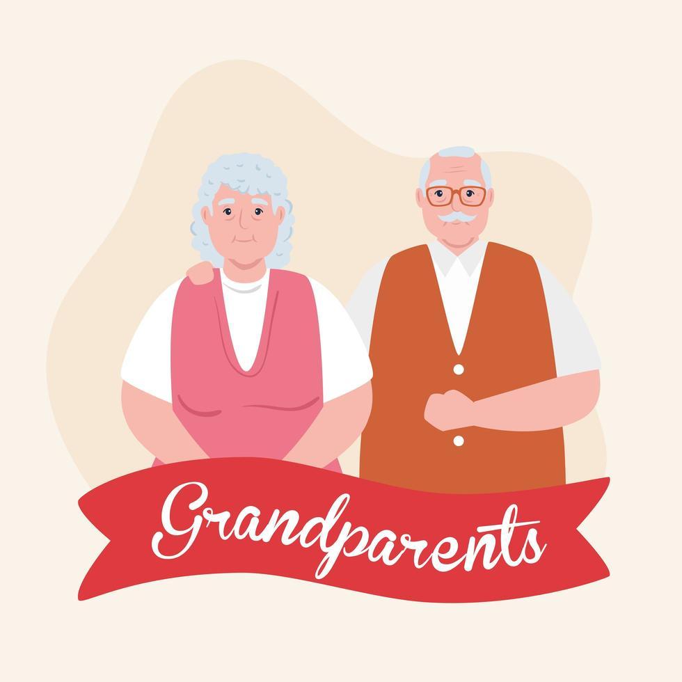 glad morföräldrar dag med söta äldre par och band dekoration vektor