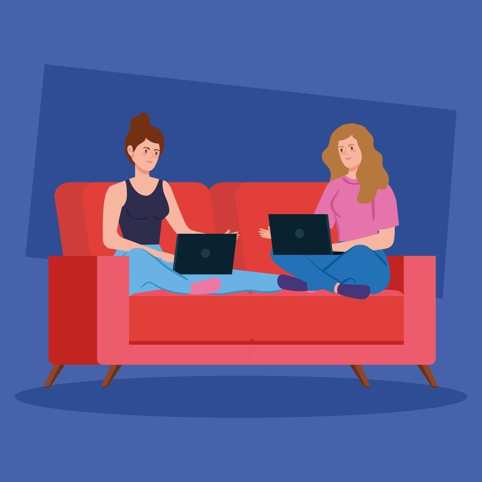 kvinnor som arbetar med sina bärbara datorer i soffan vektor