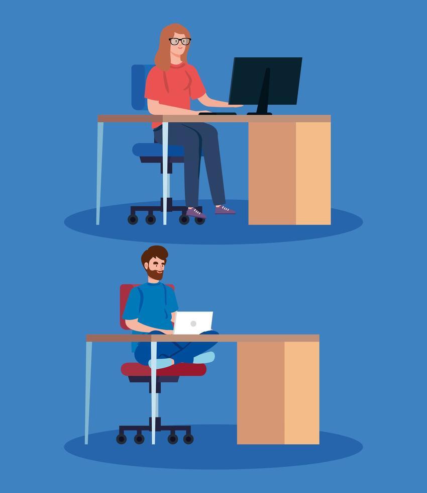uppsättning människor på datorer som arbetar på skrivborden vektor
