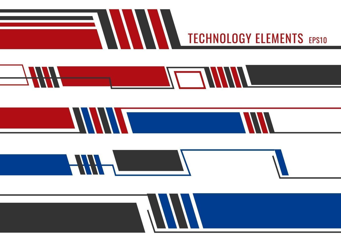 uppsättning abstrakt modern teknik futuristiska element. röda, blå och grå geometriska linjer på vit bakgrund vektor
