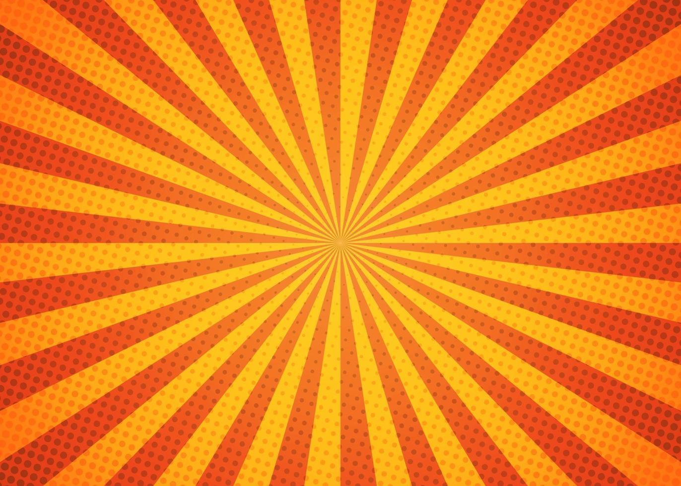 schöner Sunburst-Hintergrund mit leuchtend gelber und orange Farbe. vektor