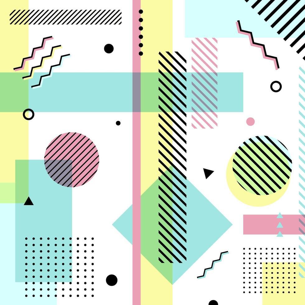 abstrakta geometriska pastellfärgmönster. memphis stil på vit bakgrund. vektor