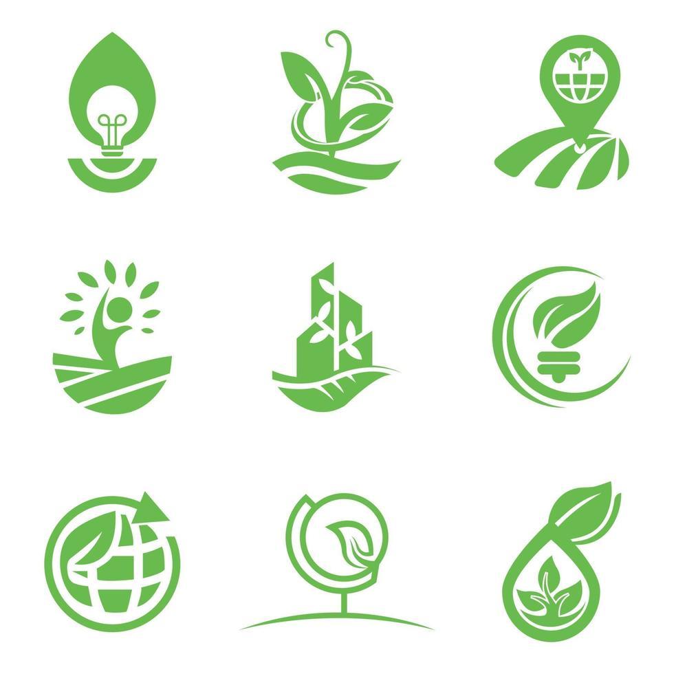 eco-logotypmall för företag och företagsuppsättning vektor