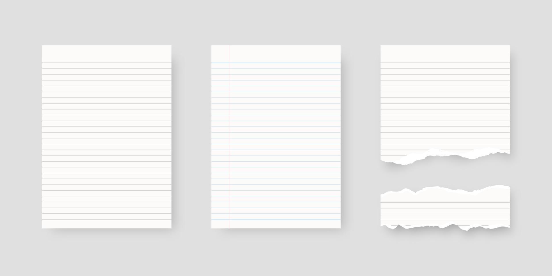 Notebook-Papierset. Blatt linierte Papierschablone. Modell isoliert. Schablonendesign. realistische Vektorillustration. vektor
