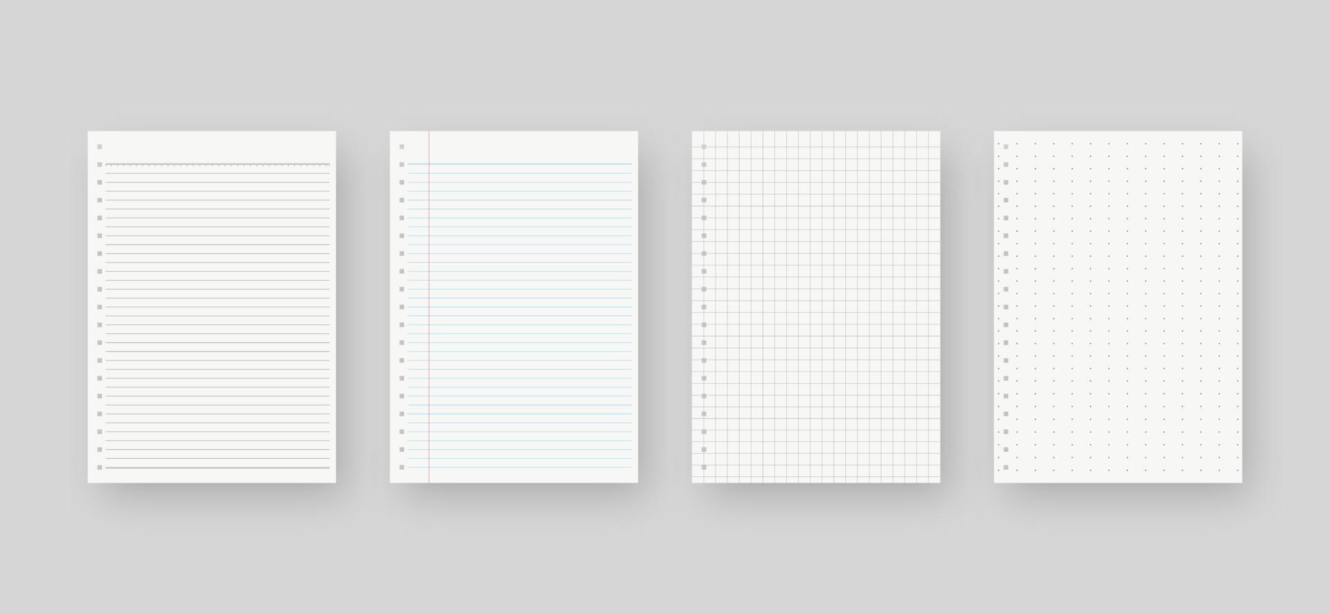 anteckningsbok pappersuppsättning. ark med fodrad pappersmall. mockup isolerad. mall design. realistisk vektorillustration. vektor