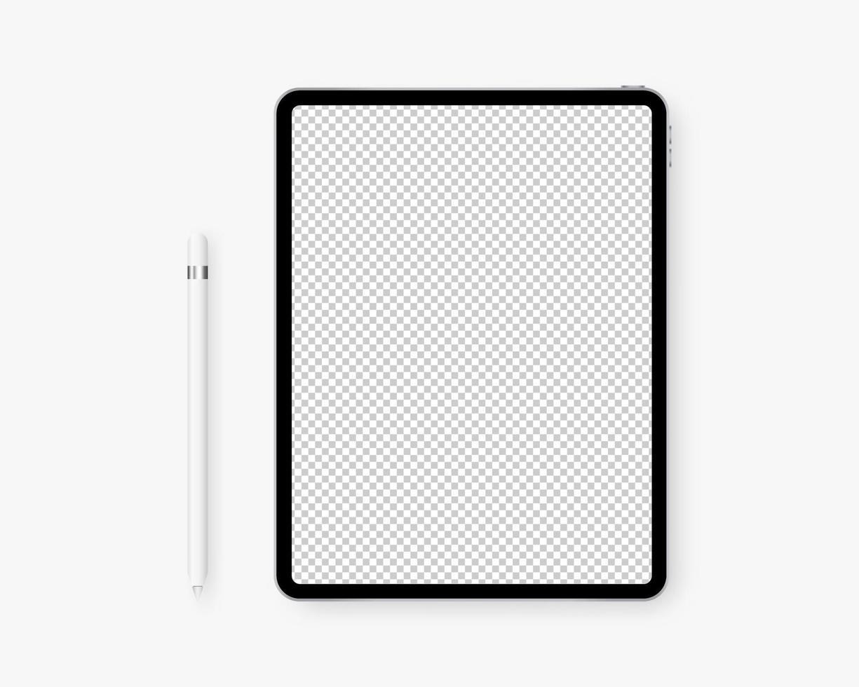 realistisk tablett med penna. surfplatta med transparent skärm. mockup isolerad. mall design. vektor illustration.
