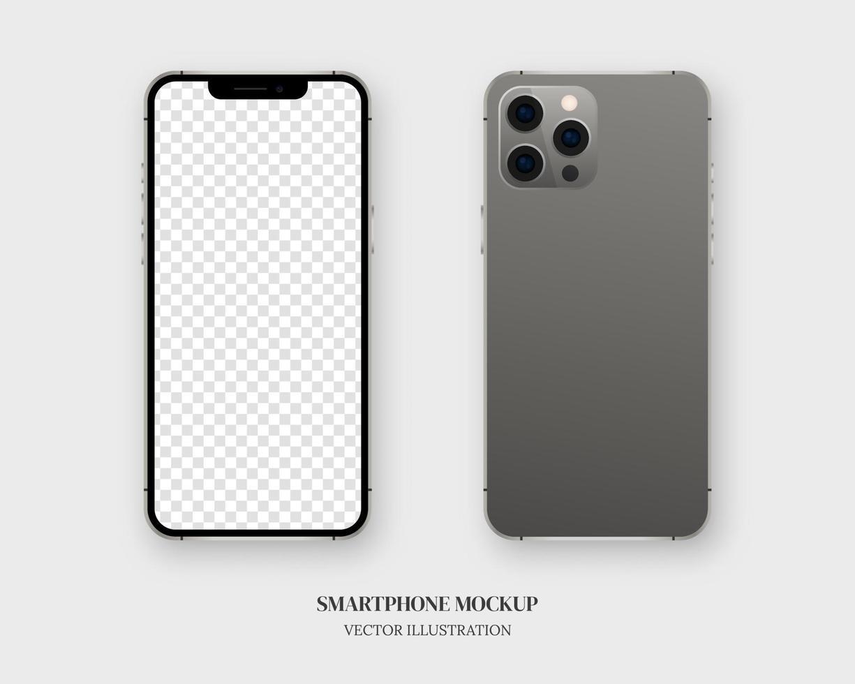 smartphone mockup vektor. tom smartphone fram och bak isolerad på grå bakgrund. mockup vektor isolerade. mall design. realistisk vektorillustration.