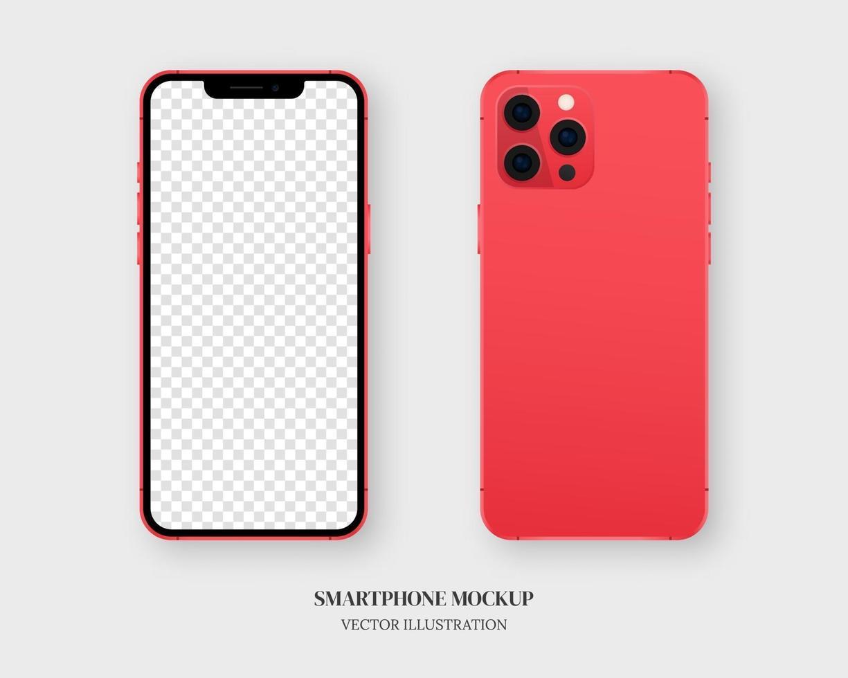 smartphone mockup vektor. tom röd smartphone fram och bak isolerad på grå bakgrund. mockup vektor isolerade. mall design. realistisk vektorillustration.
