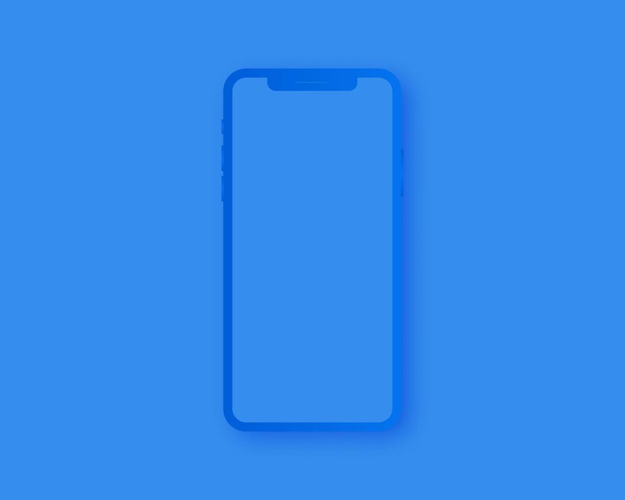 Smartphone-Modellvektor. leeres Smartphone lokalisiert auf blauem Hintergrund. Modellvektor isoliert. Schablonendesign. realistische Vektorillustration. vektor