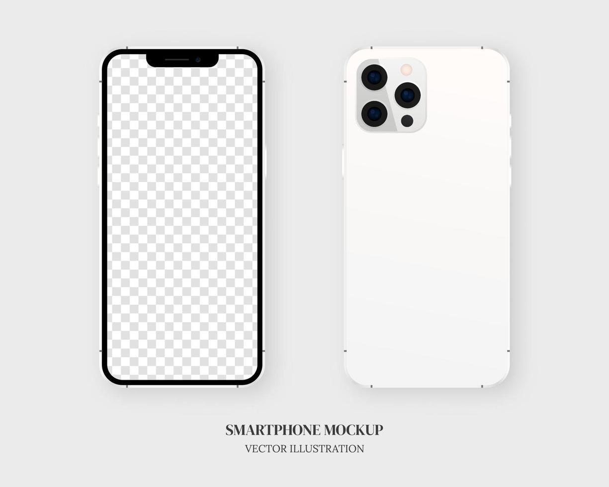 Smartphone-Modellvektor. leeres weißes Smartphone vorne und hinten lokalisiert auf grauem Hintergrund. Modellvektor isoliert. Schablonendesign. realistische Vektorillustration. vektor