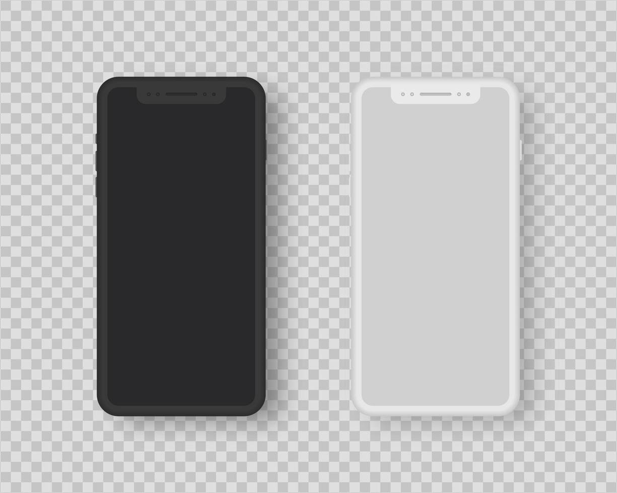 realistisk smartphone mockup set. uppsättning smartphone med tom skärm. realistisk vektorillustration. vektor