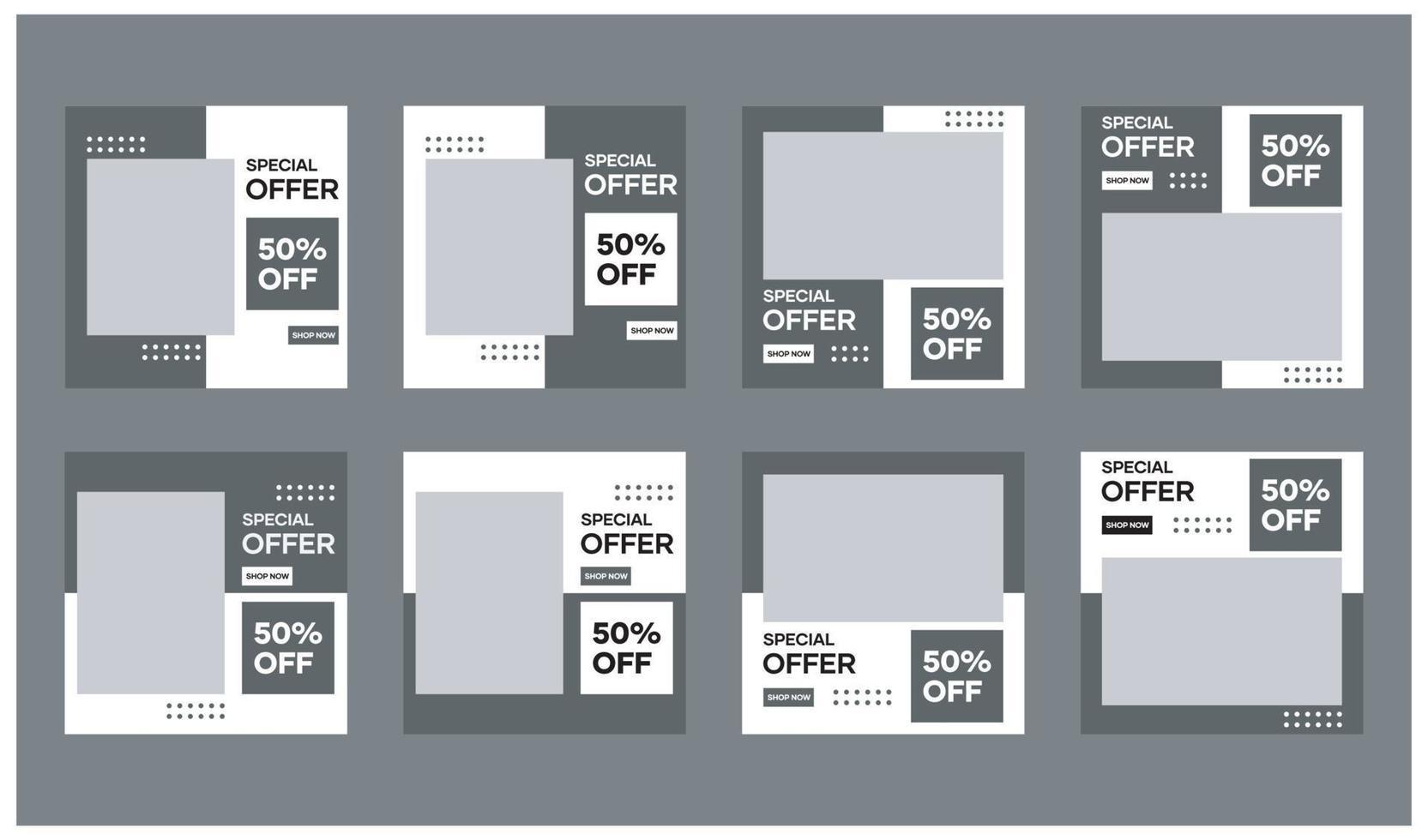 samling av mallar för sociala medier. med en svartvit bakgrund. lämplig för banner, sociala medier och webbplatsannonsering vektor