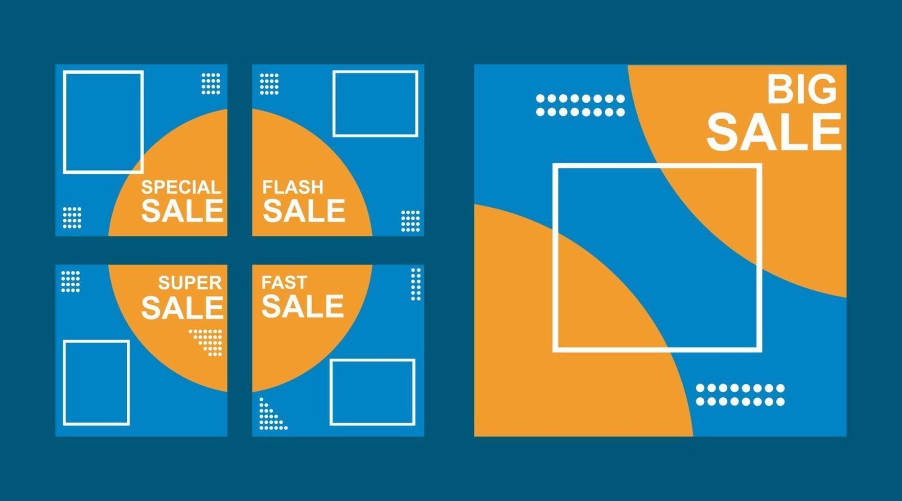 uppsättning redigerbara minimala fyrkantiga bannermallar för innehåll i sociala medier. blå och orange bakgrundsfärg. lämplig för inlägg på sociala medier och webbplatsannonsering på internet vektor