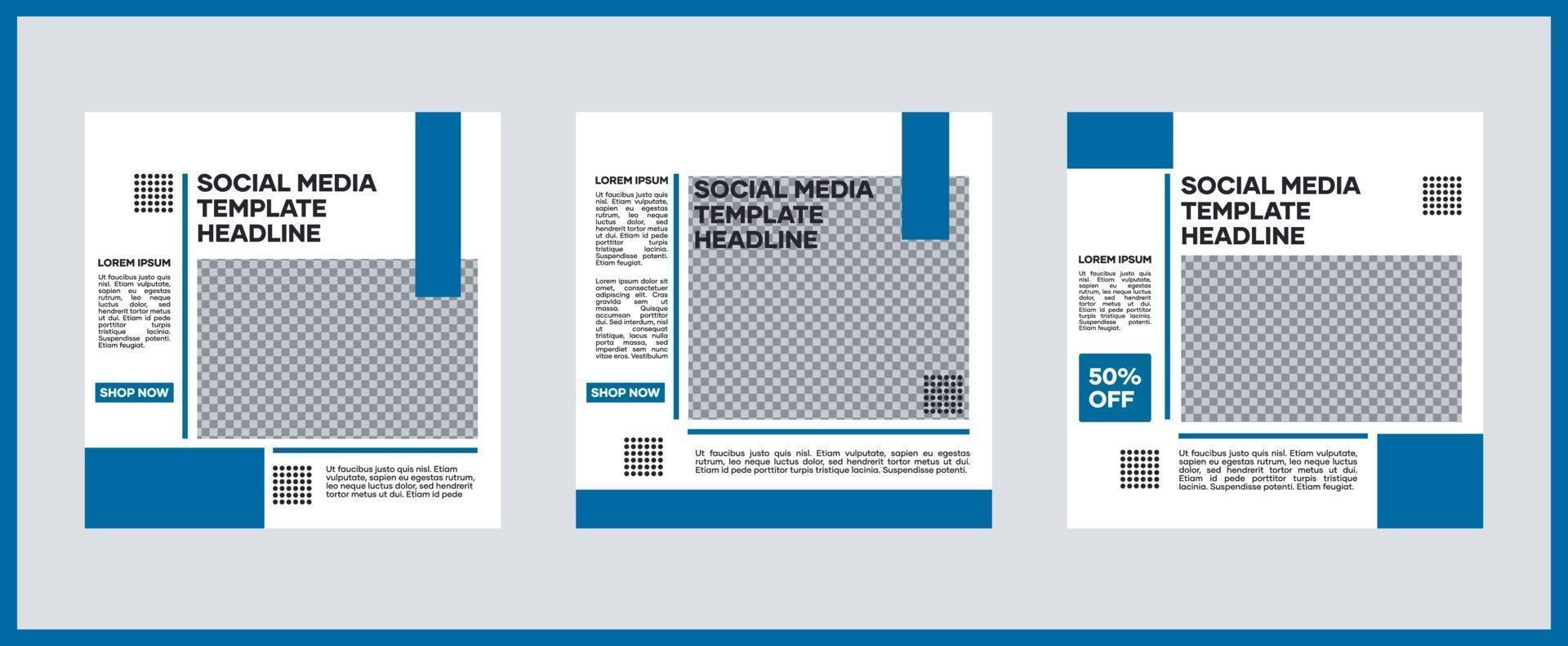 samling av sociala medier mallar. i blått. lämplig för inlägg på sociala medier och webbplatsannonsering på internet vektor