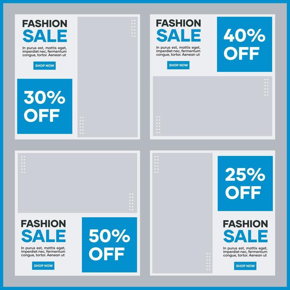 samling av malldesigner för marknadsföring av sociala medier. i ljusblått. lämplig för sociala inlägg och modeaffärswebbplatser för internetannonser vektor