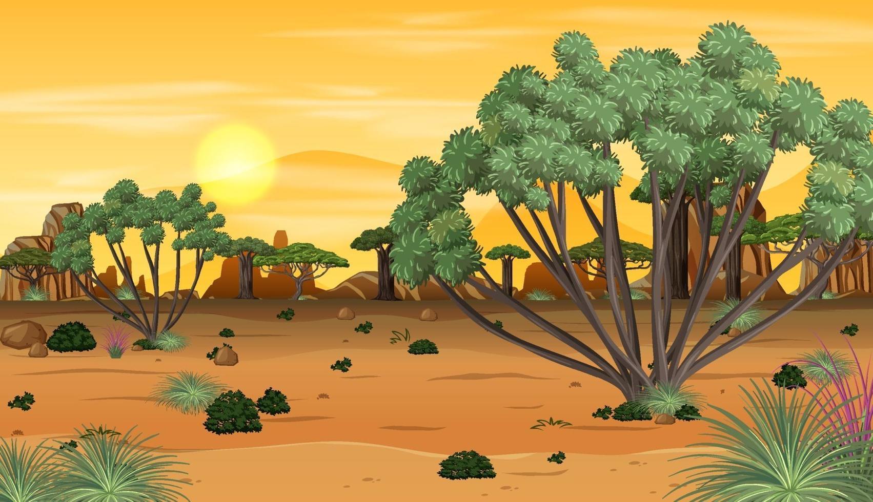 afrikanskt skoglandskap vid solnedgången vektor
