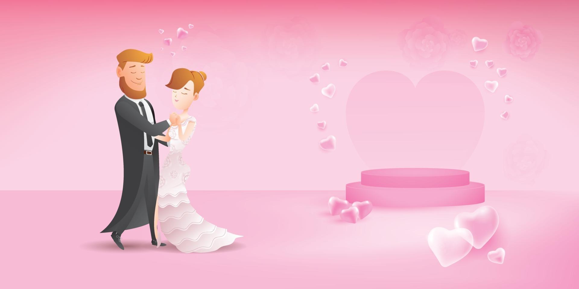 söta romantiska par på datum, par kompis med långsam steg balsal dans vektor
