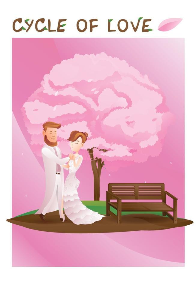 cykel av kärleksuppsättningar för valentinsäsongen, bild av parälskare som gifter sig under trädet vektor