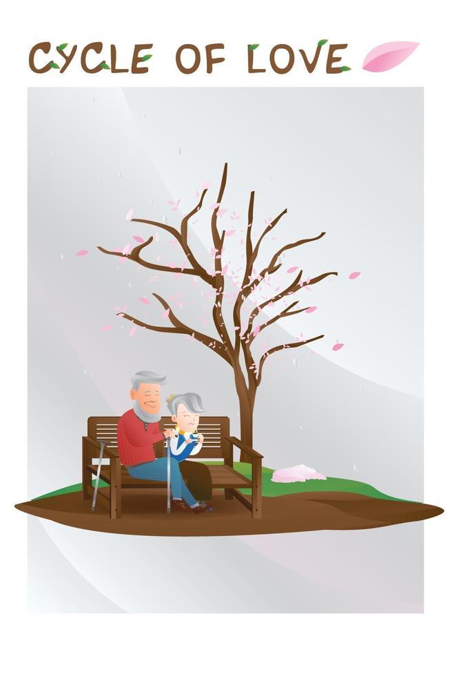 cykel av kärleksuppsättningar för valentinsäsongen, bild av äldre älskare under fallna lövträd. vektor
