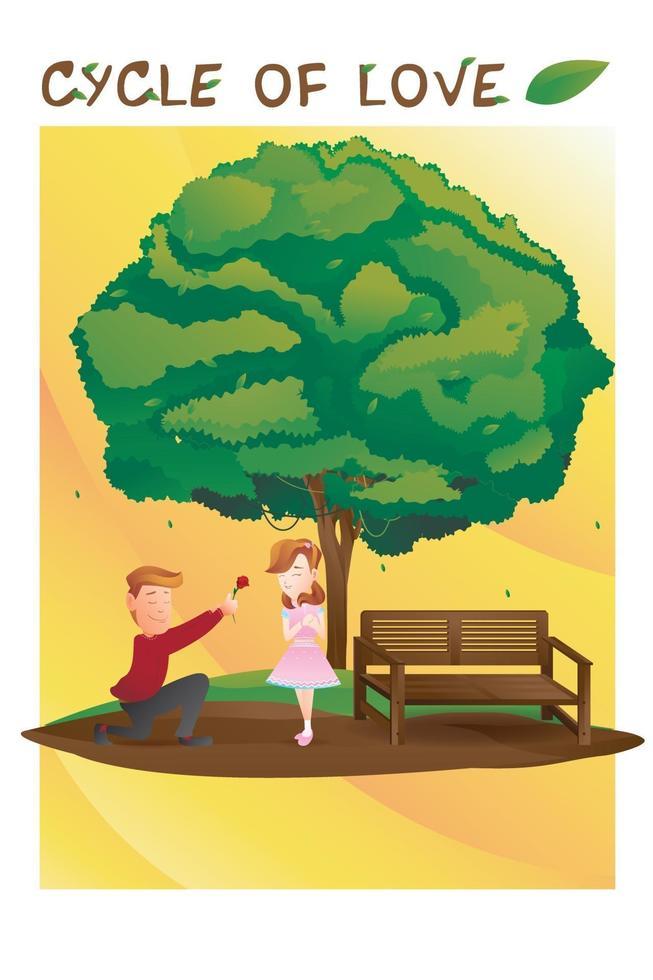 cykel av kärlek för valentinsäsongen, bild av parälskare under trädet vektor