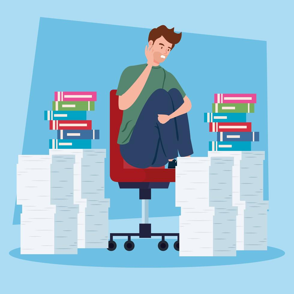 stressad man med en hög dokument vektor