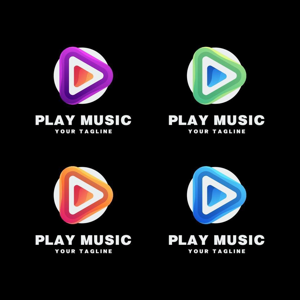 Musik-Logo-Set spielen vektor
