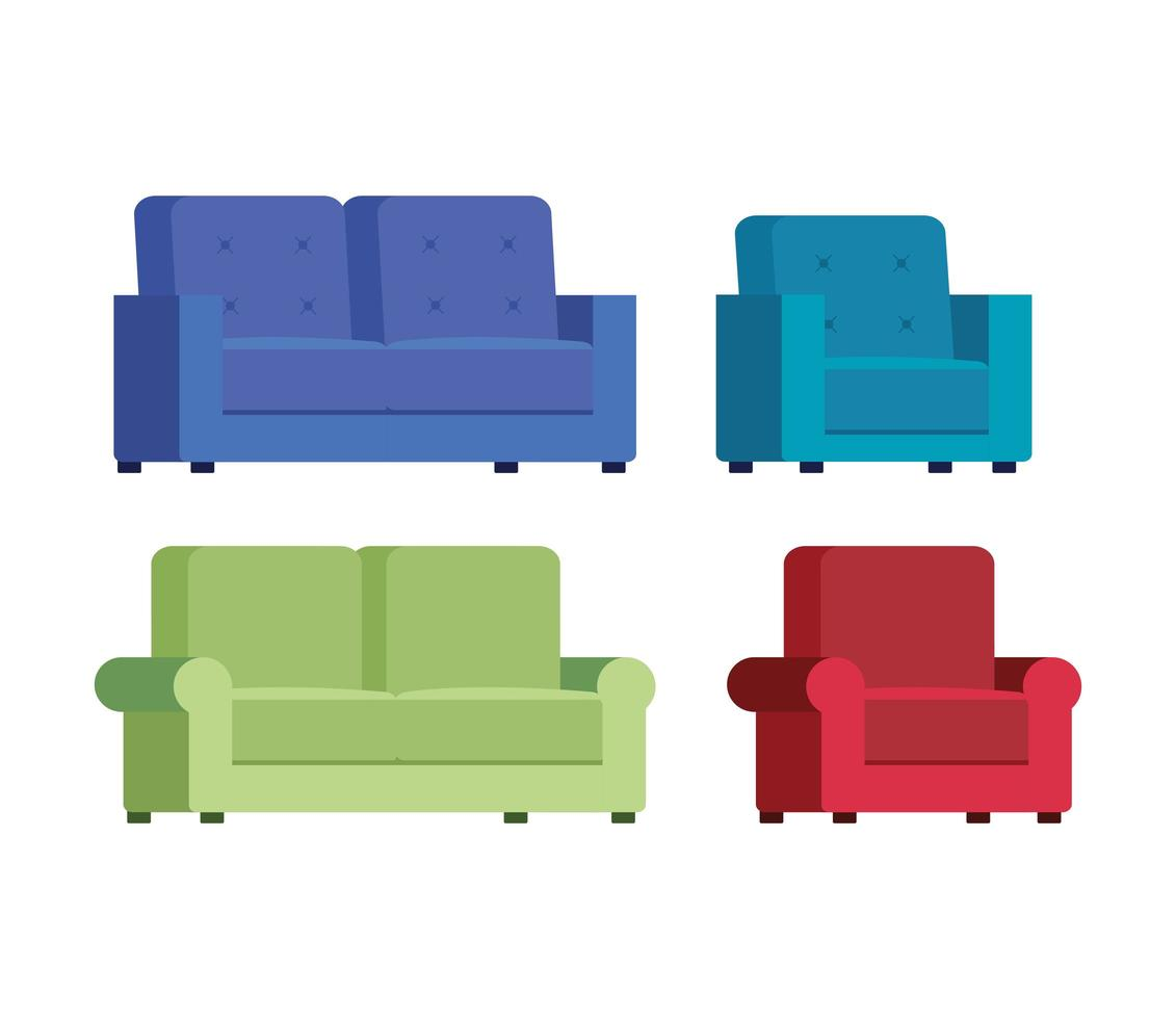 uppsättning bekväma soffa ikoner vektor