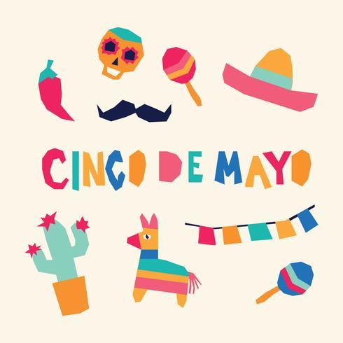 Super Färgglada Cinco De Mayo Ikoner vektor