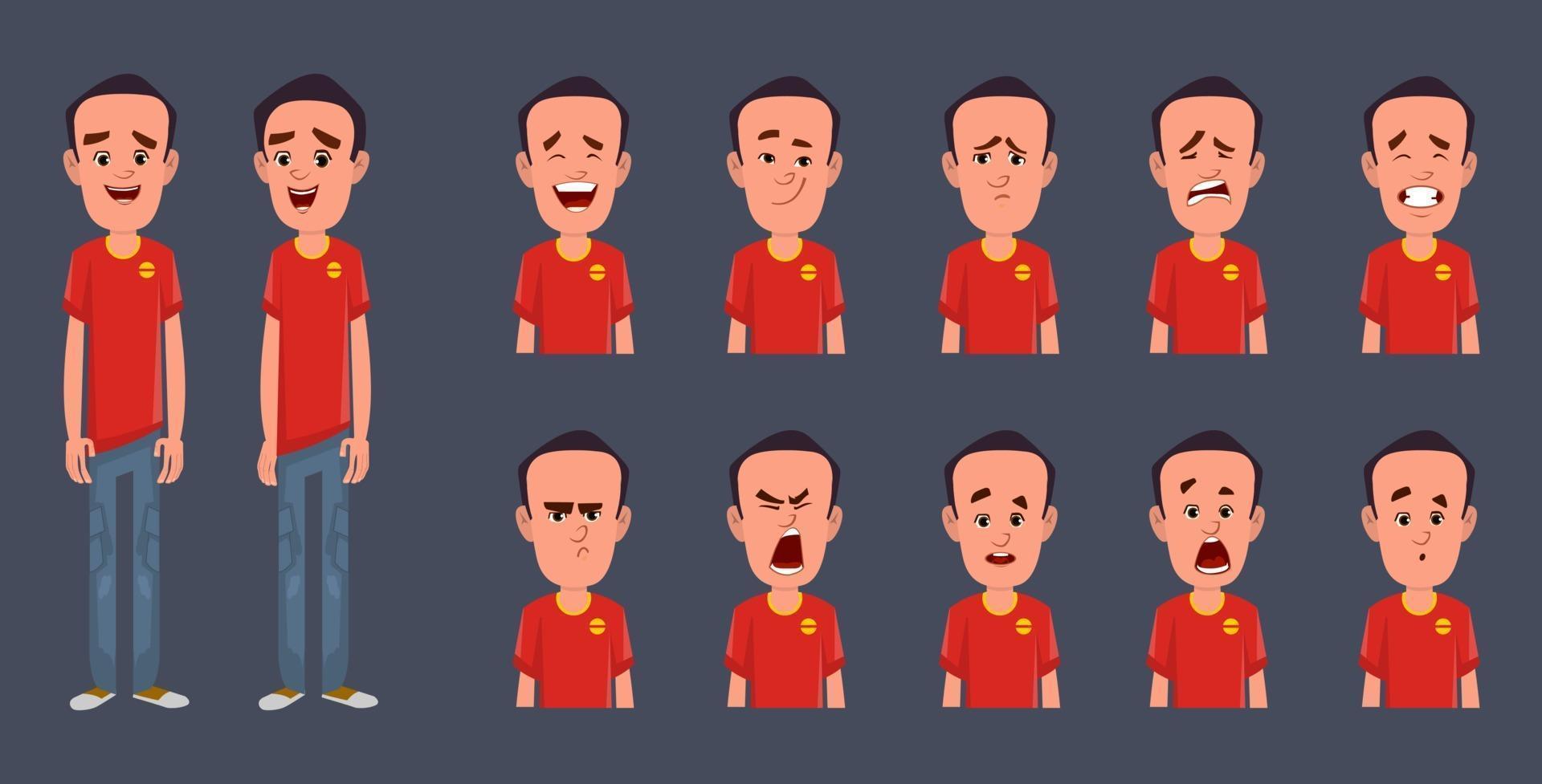 tecknad karaktärsdesign med olika ansiktsuttryck vektor