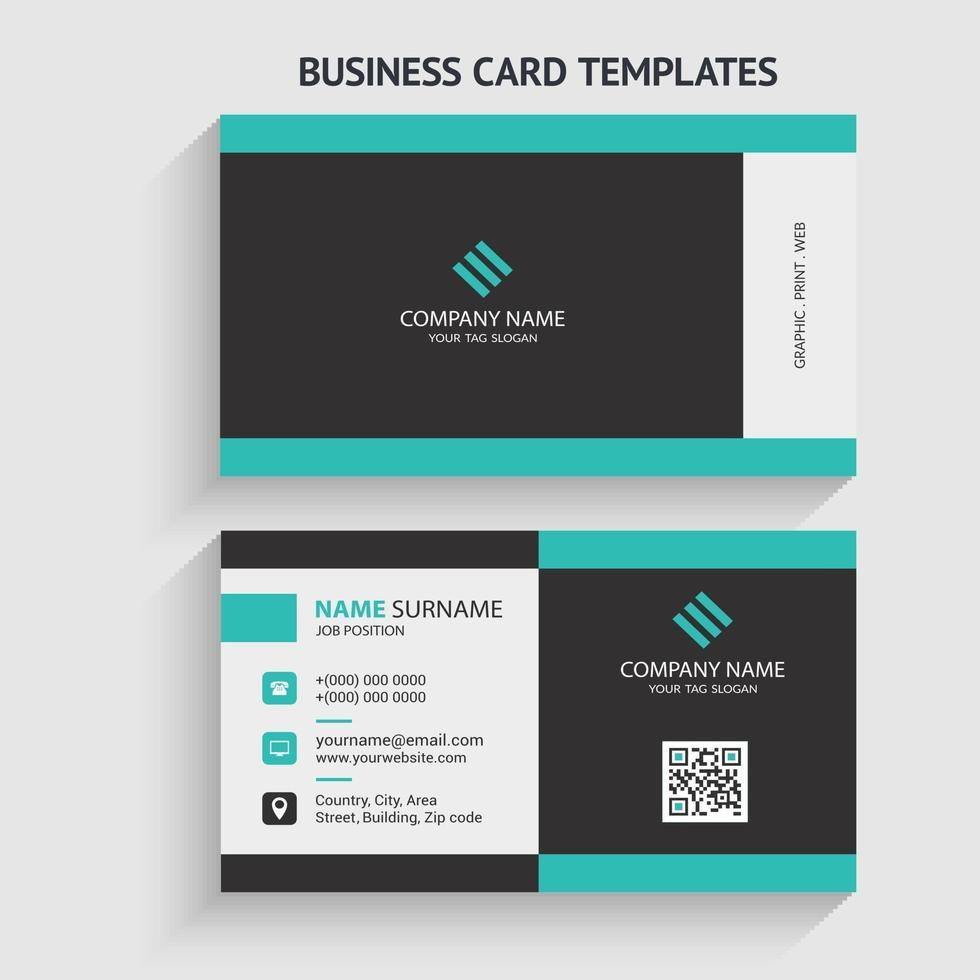 doppelseitige moderne Visitenkartenvorlage. Briefpapierdesign, flaches Design, Druckschablone, Vektorillustration. vektor