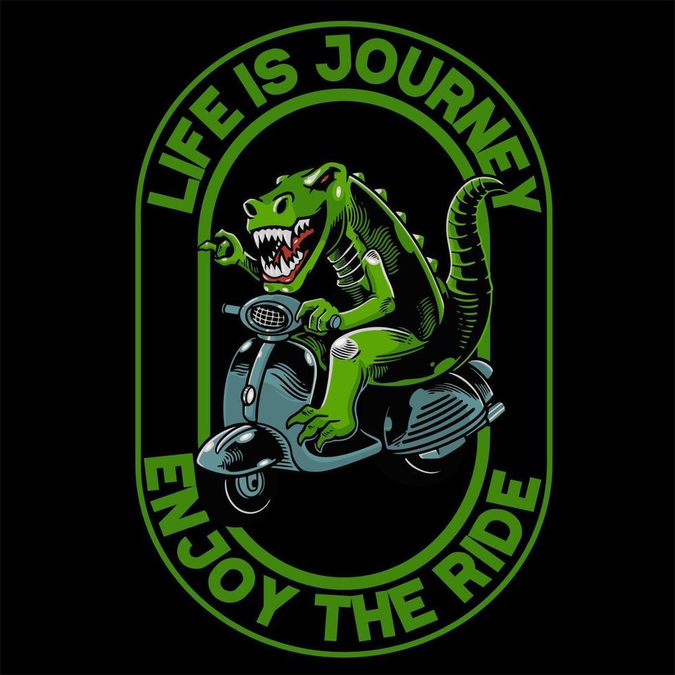 Dinosaurier mit Roller Matic T-Shirt und Kleidung trendiges Design. Gut für T-Shirt-Grafiken, Poster, Drucke und andere Zwecke. Das alte Tier fährt einen klassischen Motor vektor